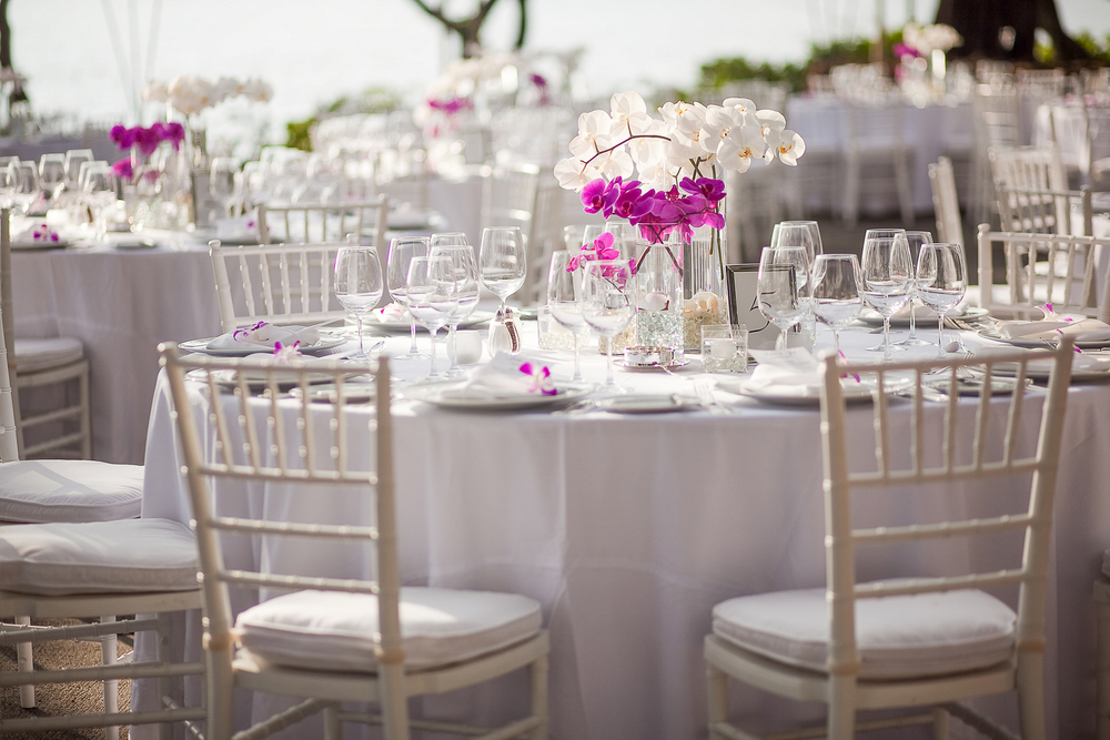 wedding venue and planning in williamsburg virginia, white reception tables with pink flower arrangement